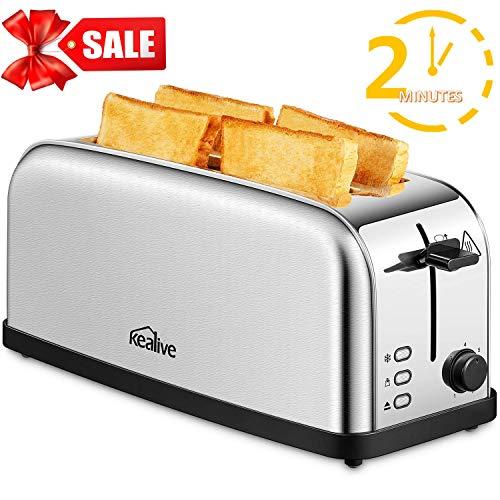 Tostapane, Kealive Toaster Vintage 4 Fette 2 Slot Lunghe, 1500W, Riscaldamento Rapido in 2 minuti, 7 Impostazioni di Tostatura, Funzione Sbrinamento, Cassetto Raccoglibriciole Estraibile