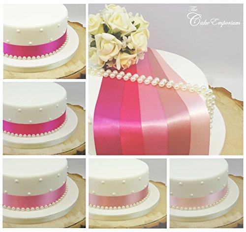 Ruban en satin - 1 m de long - 35 mm de large - Avec perles - Décoration de gâteau d'anniversaire et de mariage - Nuances de rose