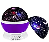 Night Ligthing Lamp, MKQPOWER Romantic 3 Modes Colorful LED Moon Sky Star +Dreamer Desk Rotating Cosmos Starlight Projector for Children Kids Baby Bedroom(Purple)