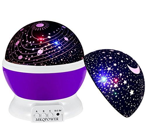 Timer-Stern-Projektor, MKQPOWER neue Erzeugung, die Mond-Stern-Projektions-LED-Nachtlichter-Spielwaren-Tabellen-Lampen mit Timer shut off & EU-Adapter, entspannende Schlaf-Hilfe für Kinder Projektions-LED (Spiderman Für Erwachsene Outfit)