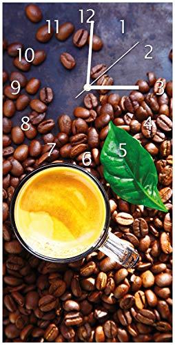 Wallario Design Wanduhr Kaffee und Bohnen aus Acrylglas, Größe 30 x 60 cm, weiße Zeiger - Cappuccino Küchenuhr