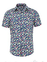 Sourcingmap Allegra K Men Short Sleeves Button Front Floral Print Shirt