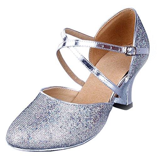 Honeystore Damen's Criss Touchy Riemen Metallschnalle Tanzschuhe Silber 38.5 EU