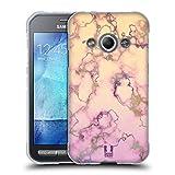 Head Case Designs Lila Und Cremweiss Schimmerndes Marmor Soft Gel Hülle für Samsung Galaxy Xcover 3