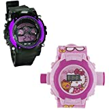 Shanti Enterprises Combo Hello Kitty 24 Images Projector Watch And Sports Watch Multi Color Dial For Kids