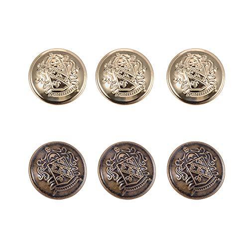 PandaHall 20pcs 2 Farben 25MM (1 Zoll) Messing Flache runde Knöpfe Metallknöpfe mit Schaft für Blazer Mäntel Uniform Anzüge Jacken, Antique Bronze und Golden - Antique Blazer