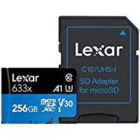 Lexar 256GB Micro SDXC 633x UHSI 95MB/s Memory Card with SD Adapter- LSDMI256BBEU633A