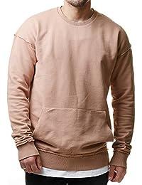 RedBridge Herren Long Oversized Longsleeve Sweater Sweatshirt Khaki Braun M2072