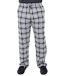 Twist Mens Grey Checked Cotton Comfort Night Western Desi Wear Pyjama Pant with Contrast & Free Shipping