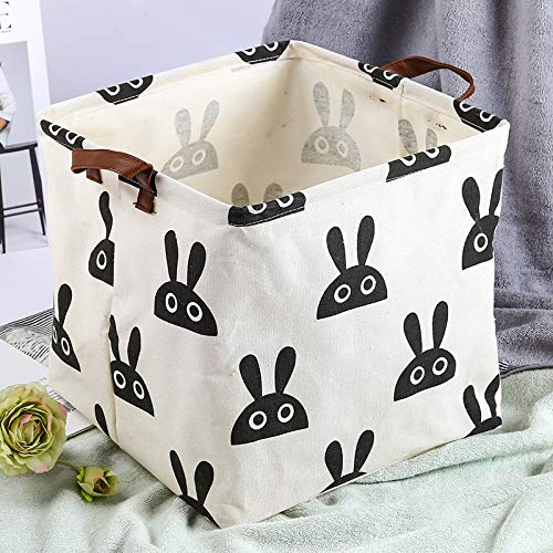 Gu3Je Cloth Waterproof Folding Hamper Basket Bathroom Dirty Clothes Storage Basket Rabbit Head 32x32x32cm -
