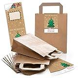 50Sacchetti di carta regalo borse marroni con manico pavimento 18x 8x 22cm + 50adesivi Buon Natale Alles Gute per nuovo anno Verde Colorato Beige confezione regalo di natale carta kraft
