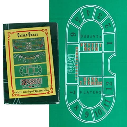 Trademark Baccarat Felt Layout, 36 x 72-Inch, Green by Trademark Global