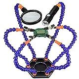 Flexible Lötstation mit helfenden Händen, NEWACALOX Dritte hand 6 helfende Arme Lötstationen Werkzeug mit Lupe und Mini Taschenlampe