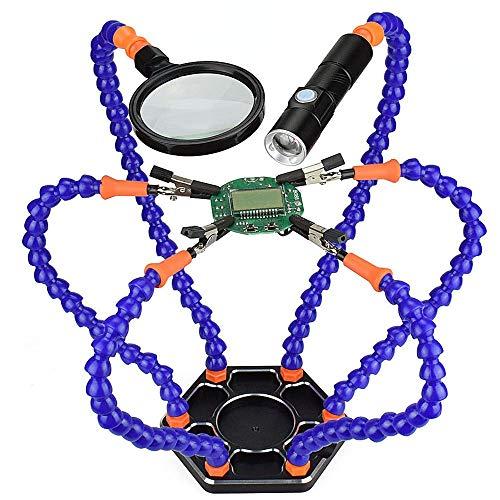 Flexible Lötstation mit helfenden Händen, NEWACALOX Dritte hand 6 helfende Arme Lötstationen Werkzeug mit Lupe und Mini Taschenlampe -