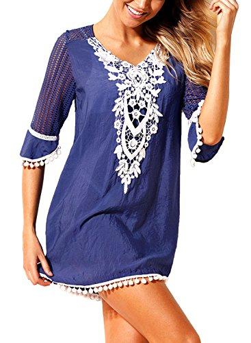 Kleid Jumper Top (FIYOTE Damen Sommer Gestrickt Strand Bademode Bikini Cover Up Crochet Kurze Kleider Tops Bluse Sweatshirt Dunkelblau S)
