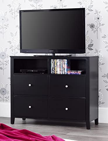 Brooklyn Black Media Chest with 4 deep drawers, Large chest of drawers with metal runners and dovetail joints.