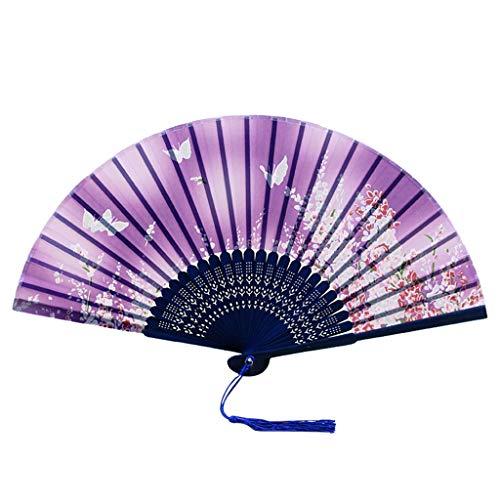 Dorical Vintage Handfächer, Imitation Seide Faltbarer Fächer Chinesische Blumenspitze Unisex Hochzeit Tanzparty Fan (One size, - Chinesisch Lieferung Mann Kostüm