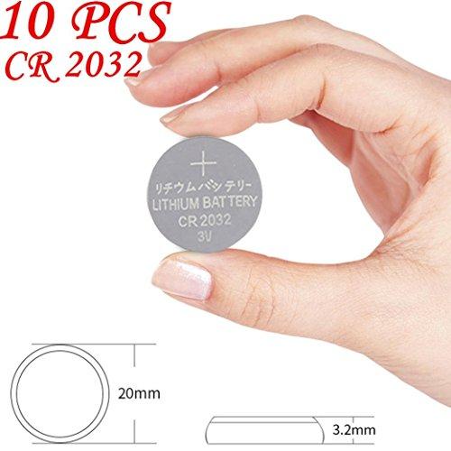10 Stücke CR2032 Lithium Knopfbatterie, Siswong 3V Münze Zelle Batterie Ersatz Für Uhren/ Spielzeuge/ Fernbedienungen/ Videokameras (Silber/10 Stücke)