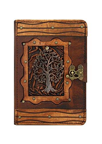 Preisvergleich Produktbild A Little Present Lebensbaum-Anhänger im Vintage-Stil, echtes Leder, Hardcover, mit Standfunktion Geldbörse, mit Schloss und für iPad Mini 1/2, iPad 3 und iPad mit Retina Display