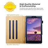 Zolten(R) Full Body PU Leather Hybrid Flip Stand Case with Smart Magnetic Sleep/Wake Feature for Amazon Kindle Fire HD 10 (7th Generation, 2017 Release) - Dark Blue