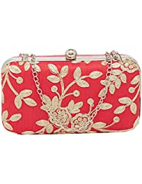 Tarusa Red Color Embroidered Design Silk Material Box Clutch For Women