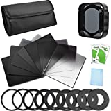#4: Neutral Density Filter Set Full ND2 ND4 ND8 ND16 + Graduated ND2 ND4 ND8 ND16 Filters + 9 Filter Adaptors (49/52/55/58/62/67/72/77/82MM) + Filter Holder + Lens Hood + Filter Case for Canon Nikon Sony