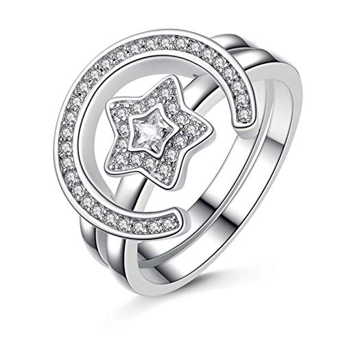 J-Z Fashionring Silber Farbe Star & Moon Statement Fingerring Set Klar Cz Ring für Frauen Hochzeit Schmuck, Ring, 6 - Herren Ringe Cz Alle