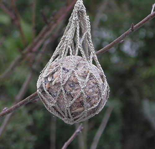 Meisenknödelhalter Vogelfutter Spender Netz ökologisch - gehäkelt handmade - Meisen sogar Specht + ander Wildvögel waschbar 100% waschbar -