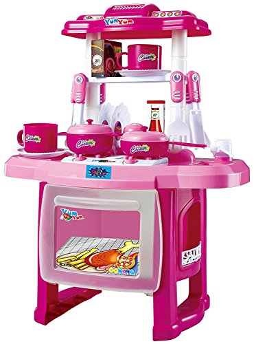 Saffire Kids Kitchen set children Kitchen Toys Large Kitchen Cooking Simulation Model Play Toy for Girl Baby (Pink)