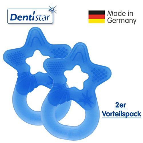 Dentistar® Beißring im 2er-Set - Stern - Zahnungshilfe für Babys ab 3 Monate - Kühlbeißring Baby aus TPE - Made in Germany – Royal Blau
