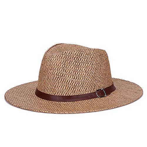 Ningz0l Sonnenhut, Golfvisier, Sommer-Stroh-männer Monochrom Im Freien Spielraum Lichtschutzsun-wash Britischen Strohhut, über 57cm (Für Stroh-hüte Handwerk)