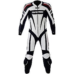 mono de piel para moto hombres ,Spyke Kaver Race (60, Blanco/Negro/rojo)