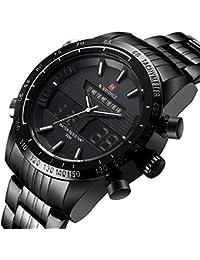 Naviforce reloj de Hombre Militar Deportes analógico de acero completa Digital de cuarzo reloj con gorben caja