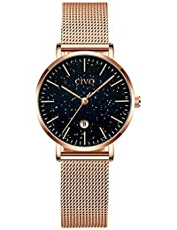 CIVO Relojes para Mujer Señoras Impermeable Oro Rosa Relojes de Pulsera Chicas Adolescentes Fresco Moda Casual