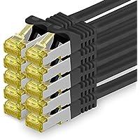 Cat.7 Netzwerkkabel 1,5m - Schwarz - 10 Stück - Cat7 Ethernetkabel Netzwerk Lan Kabel Rohkabel 10 Gb/s (Sftp Pimf) Set Patchkabel mit Rj 45 Stecker Cat.6a