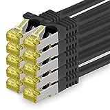 Cat.7 Netzwerkkabel 1m - Schwarz - 10 Stück - Cat7 Ethernetkabel Netzwerk Lan Kabel Rohkabel 10 Gb/s (Sftp Pimf) Set Patchkabel mit Rj 45 Stecker Cat.6a