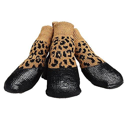 abcGOODefg® Haustier Hund Socken Hundestiefel Schuhe Welpen Wasserdicht Anti-Rutsch Sportsocken Schuhe Stiefel für Hunde Gummisohle Pfotenschutz für kleine mittelgroße große große Hunde, 2, Leopard