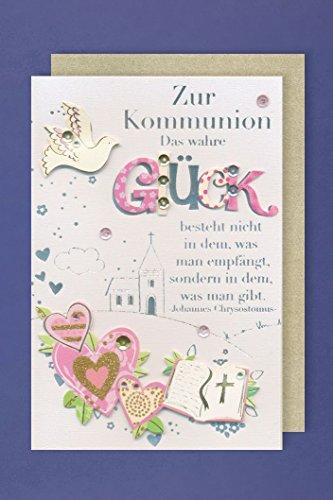 Kommunion Karte Grußkarte Applikation Wahre Glück Bibel Kirche Taube 16x11cm