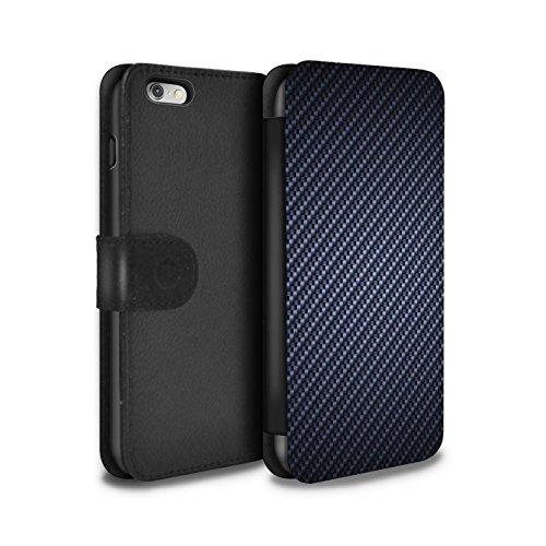 STUFF4 PU-Leder Hülle/Case/Tasche/Cover für Apple iPhone 6+/Plus 5.5 / Blau Muster / Kohlenstoff-Faser-Muster Kollektion (Fall Kohlenstoff-faser Plus 6 Iphone)