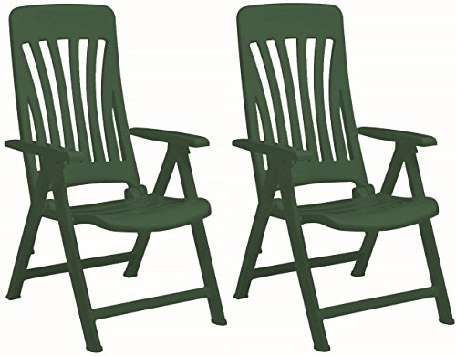 Resol Blanes Folding Multi-Position Garden Armchair - Green Plastic - Pack of 2 Chairs