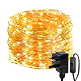 LE 20 Metre String Lights, 200 LED Fairy Lights Plug in, IP65 Waterproof, Mains Powered Warm White Copper Wire Lights for Outdoor, Indoor, Wedding, Garden, Gazebo and More