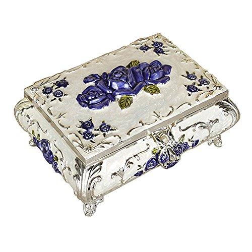 Glänzende Schmuckschatulle Silver Frame Blaue Blume mit Spiegel-rosa