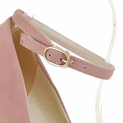 Mee Shoes Damen modern elegant bequem Keilabsatz Geschlossen runder toe ankle strap Schnalle Nubukleder Pumps Pink