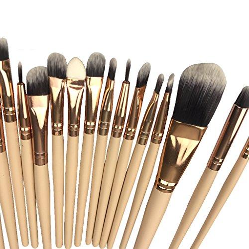 MagiDeal 20pcs Kit Pinceaux Maquillage Professionnel Brosse Cosmétique pour Poudre Fond de Teint Fluide Ombre à Paupières Contour Yeux Peinture Visage Anti-cernes - Couleur de peau