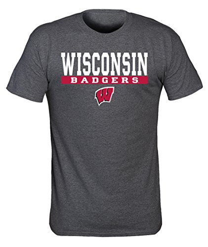 Old Varsity Brand NCAA Wisconsin Badgers Herren-T-Shirt mit Siebdruck, Polyester-Baumwoll-Mischgewebe, Dark Heather, L