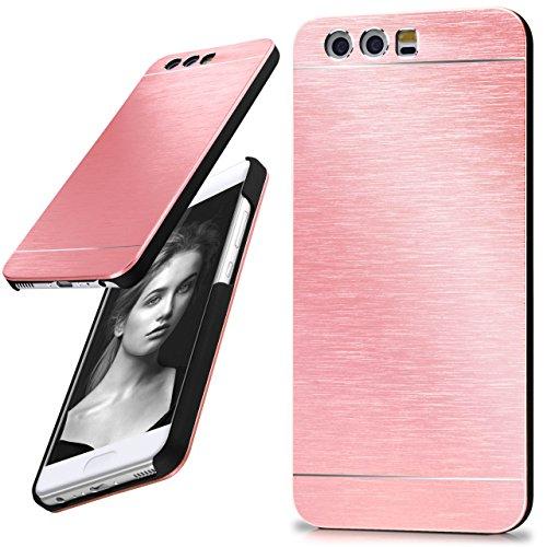 Huawei P10 Hülle Dünn Rosé-Gold [OneFlow Aluminium Back-Cover] Schutz Handytasche Ultra-Slim Handy-Hülle für Huawei P10 Case Metall Schutzhülle Alu Hard-Case