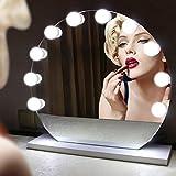Yaojiaju Make-up-Spiegel-Lichter, 10 LED beleuchtete Make-up-Spiegel-Birnen-Schnur-stufenlose dimmbare Touch Control-kühle weiße Hollywood-Lampe (Spiegel nicht eingeschlossen) LED