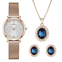 Women Watch Sets Quartz Wrist Watches with Rose Gold Earring and Necklace 3 Sets for Christmas Valentine's Day Gifts (3629 RG XL003)