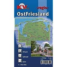 OstFriesland: 1:100.000 >regio< inkl. 60 Freizeittipps mit Infohotline, 16 Citykarten (1:25.000) 18 Radrouten und allen 7 ostfriesischen Inseln (KVplan Sonderausgaben / Reiterkarten, Atlanten)