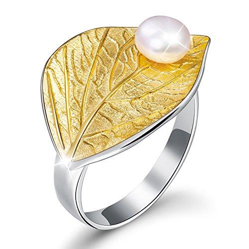 JAINGYUYAN Damen Ring Blätter mit Süßwasserperle Offener Ring S925 Sterling Silber Handgemachte Ringe für Frauen und Mädchen. (Gold)